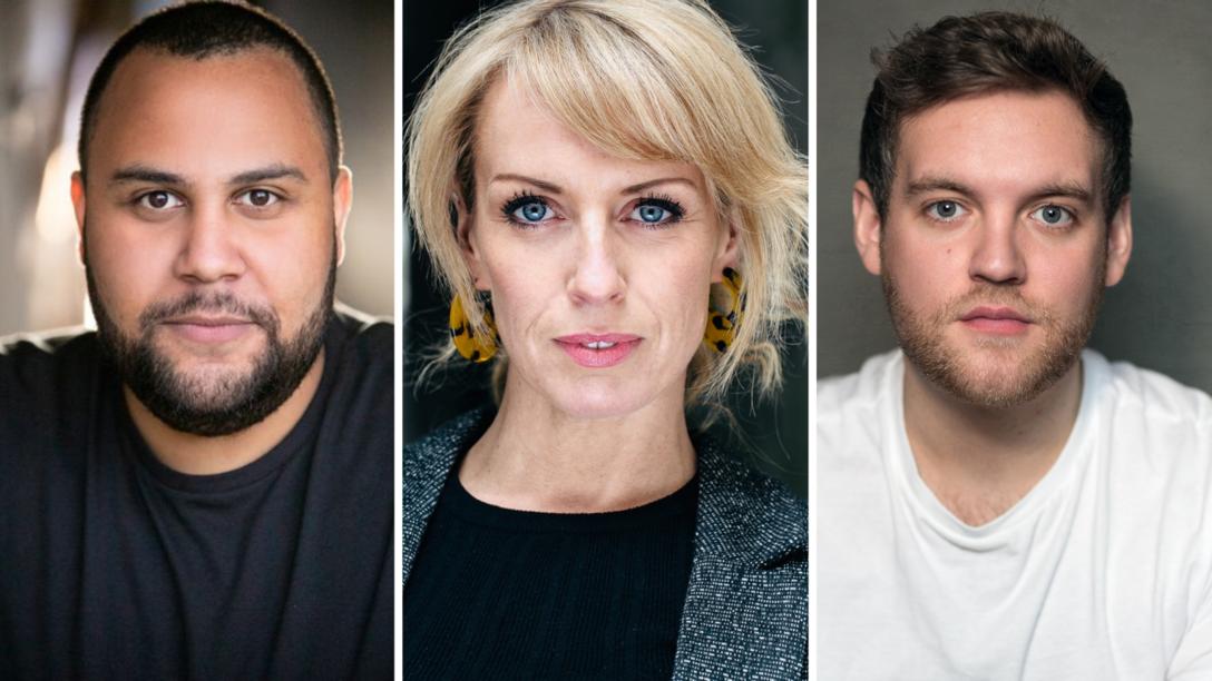 The cast of St Anne Comes Home; Jordan Castle, Rebecca McKinnis and Dan Buckley